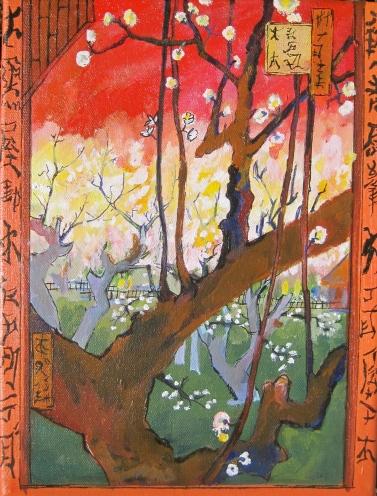 "Van Gough Study- Plum Blossoms, Original,9"" x 12"" Acrylic on canvas, 200$"